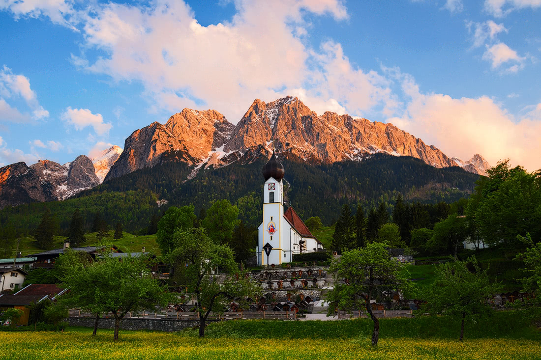 Grainau church sunrise Zugspitze Alpenglow Alps Alpen