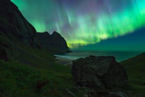Aurora kvalvikka northern norway lofoten