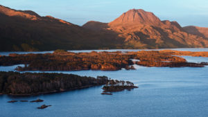 Slioch at Sunset overlooking Loch Maree