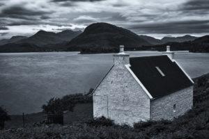 loch shieldaig in black and white