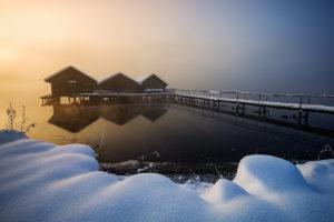 Bayern Bavaria Alps Alpen Kochel am See fischerhütte barn winter wonderland